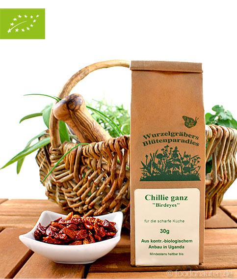 Bio Chili (ganz), Birdeyes, Wurdies, Gewürze, 30g