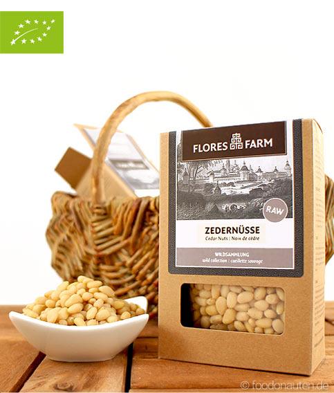 Premium Bio Zedernüsse, Flores Farm, 80g