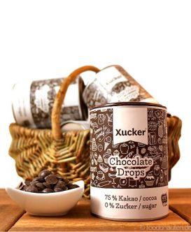 Xucker Schokodrops mit Xylit gesüßt (Ohne Zucker), Edelbitterschokoladen-Drops, 200g