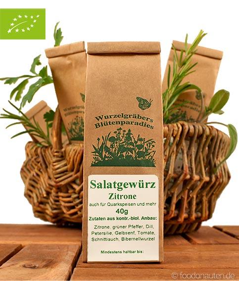 Bio Gewürzmischung, Salatgewürz mit Zitrone, Wurdies (Wurzelgräbers Blütenparadies)