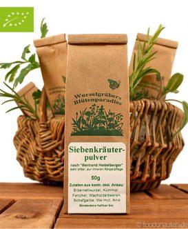 Bio Gewürzmischung, Siebenkräuterpulver, Wurdies (Wurzelgräbers Blütenparadies)