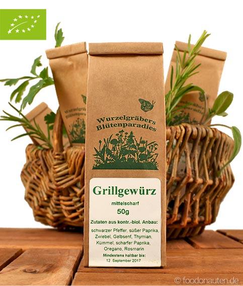 Bio Gewürzmischung, Grillgewürz, Wurdies (Wurzelgräbers Blütenparadies)