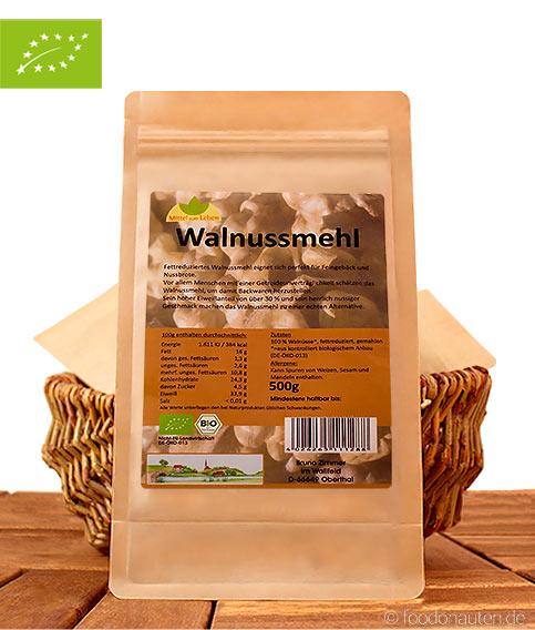 Bio Walnussmehl (Low Carb und glutenfrei), 500g, teilentölt, Mittel zum Leben