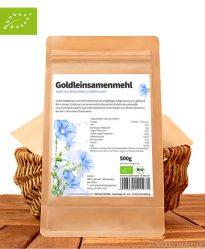 Bio Gold-Leinsamenmehl (Fettreduziertes Mehl aus Goldleinsaat), 500g, Foodonauten