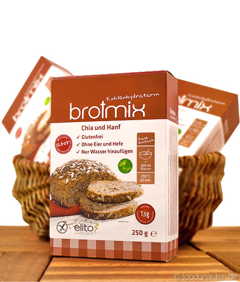 Low Carb Brotbackmischung Chia-Hanf-Brotmix, glutenfrei, sojafrei, Elito Health Science, 250g
