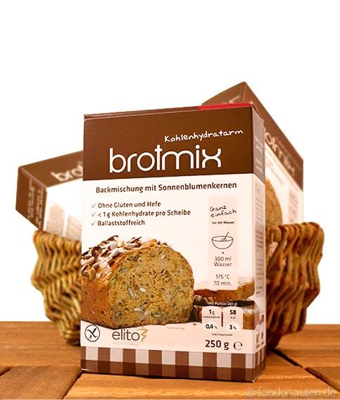 Low Carb Brotbackmischung mit Sonnenblumenkernen (glutenfrei, sojafrei) Elito Health Science, 250g
