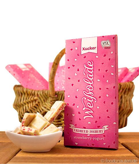 Weißolade (Weiße Joghurt-Erdbeer-Schokolade mit Xylit gesüßt), Xucker, 100g
