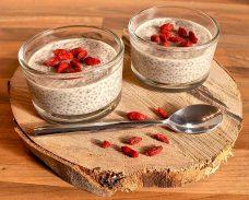 Low Carb Rezept   Kokos-Chia-Pudding mit Goji-Beeren