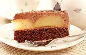 Low Carb Torte mit Schokolade und Birnen