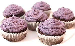 Low Carb Schoko Muffins mit Blaubeer Topping