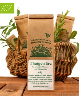 Bio Gewürzmischung Thaigewürz, 40g, Wurzelgräbers Blütenparadies (Wurdies)