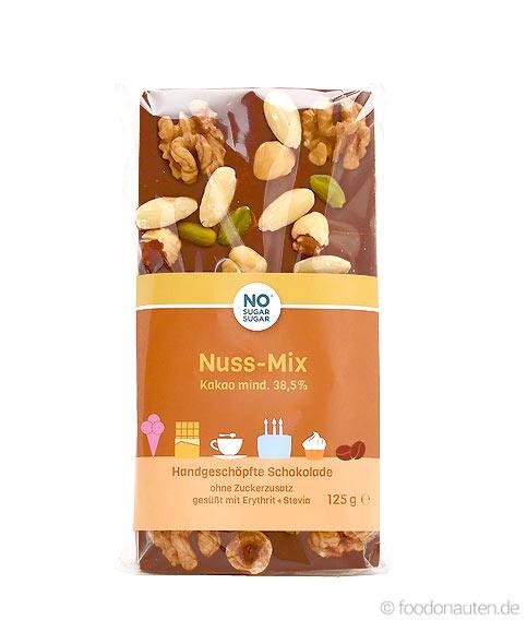 No Sugar Sugar Nuss-Mix-Schokolade ohne Zuckerzusatz mit Erythrit, 125g
