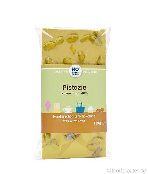 Pistazien-Schokolade ohne Zuckerzusatz mit Erythrit, 110g, NoSugarSugar