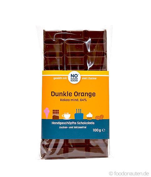 Schokolade (Dunkle Orange), Mit Erythrit ohne Zuckerzusatz, 100g, No Sugar Sugar