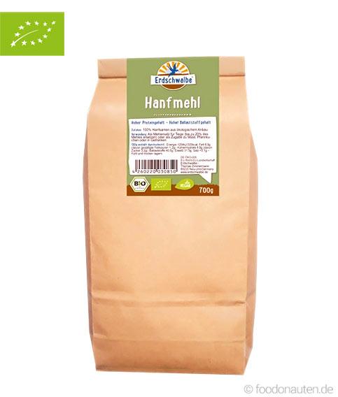 Bio Hanfmehl (entölt), Low Carb Mehl (glutenfrei & proteinreich), Erdschwalbe, 700g