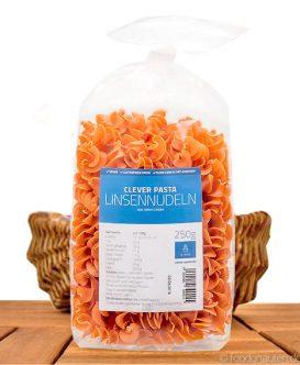 Clever Pasta - Linsennudeln (Pasta aus roten Linsen), Eiweißreich und Vegan, 250g