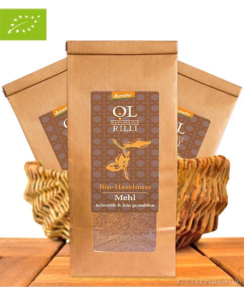 Bio Haselnussmehl, Teilentölt & Kalt Vermahlen, Demeter-Qualität, Ölmanufaktur Rilli, 500g