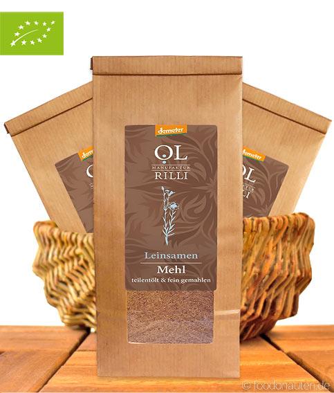 Bio Leinsamenmehl (braun), Teilentölt & Kalt Vermahlen, Demeter-Qualität, 500g, Ölmanufaktur Rilli