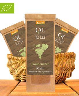Bio Traubenkernmehl, Teilentölt & Fein Vermahlen, Demeter-Qualität, 250g, Ölmanufaktur Rilli