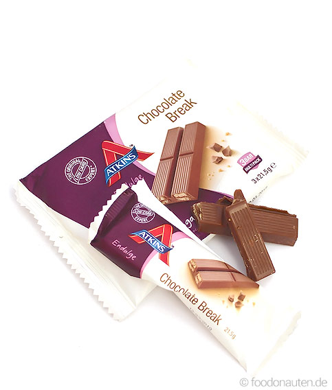 Endulge Bars Chocolate Break, Low Carb Schokoriegel, 3 x 21,5g, Atkins