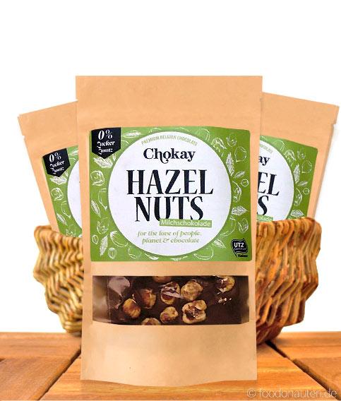 Chokay - Haselnuss Schokolade, Ohne Zuckerzusatz, Mit Stevia, 100g