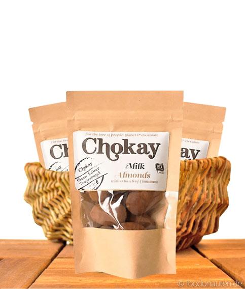 Chokay, Milch-Schoko-Mandeln mit Zimt 40g