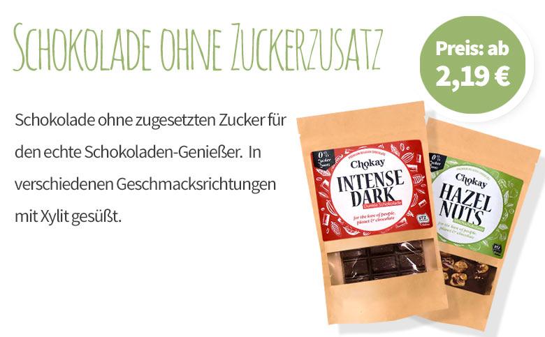 Schokolade ohne Zuckerzusatz - Chokay - Banner - Mobile