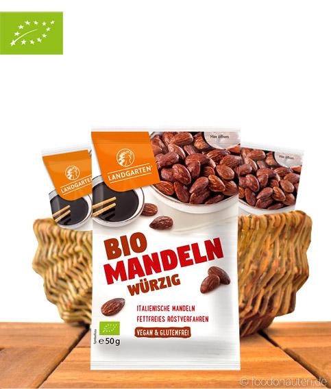 Bio Mandeln Würzig, Mit Tamari-Sauce, Vegan & Glutenfrei, 50g, Landgarten