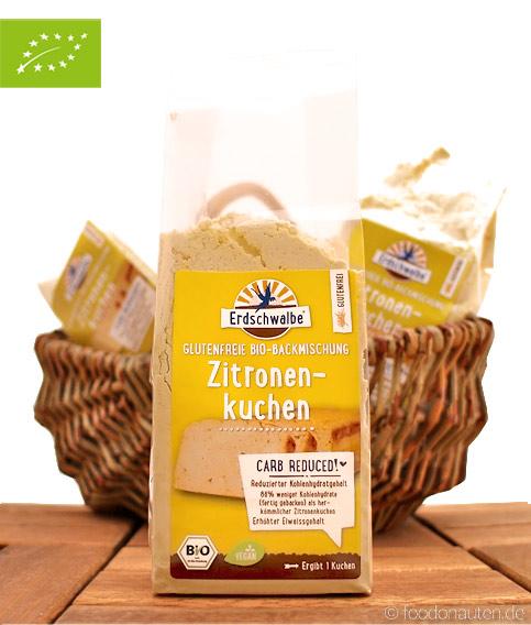 Bio Zitronenkuchen, Glutenfreie Low Carb Backmischung, Erdschwalbe, 160g