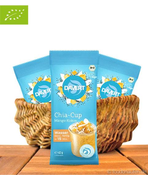 Chia-Cup Mango-Kokos, Low Carb Frühstück, Bio-Qualität, 42g, Davert
