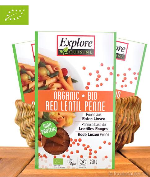 Explore Cuisine, Bio Rigatoni (Penne aus roten Linsen), 250g