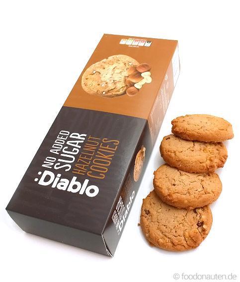 Haselnuss-Cookies, Ohne Zuckerzusatz, Kohlenhydratarm, 135g, Diablo