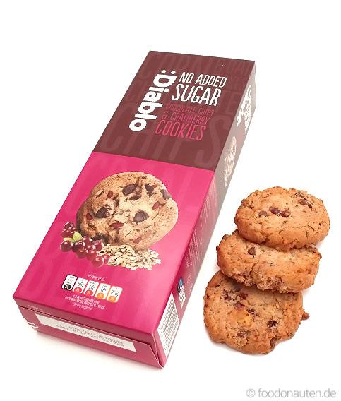 Schoko-Cranberry-Cookies, Ohne Zuckerzusatz, Kohlenhydratarm, 135g, Diablo